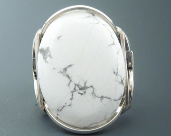 Handcrafted Sterling Silver Large Howlite Cabochon Wire Wrapped Ring