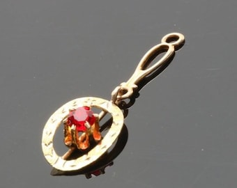 Vintage 10k yellow and green gold and red glass pendent