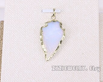 6/10pcs Fashion high quality opal stone arrow shape charms pendants fit necklace jewelry making
