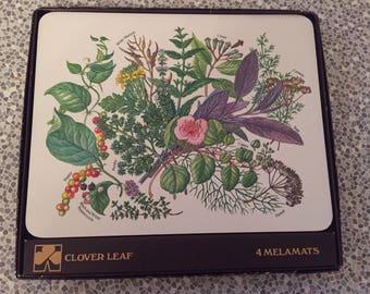 Set of 4 Clover Leaf Melamine Tablemats