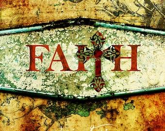 Vintage Faith Layered Texture Art