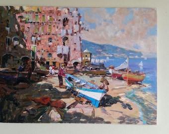 """Zaza, """"Barche and Amalfi"""" 1998, Made in Italy, Original Oil on Canvas"""