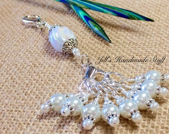 Pearl White Stitch Marker Holder & Snag Free Stitch Markers - Knitting Gift