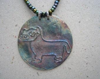 Artifact Inspired Oxidized Fine Silver Llama Disk on Beaded Necklace - Llama Pendant