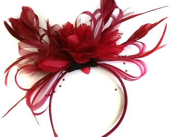 Burgundy Wine Dark Red Fascinator Headband Alice Band Wedding Ascot Races Loop Net