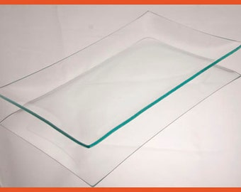 Clear Glass Rectangle Plate 6 x 10, Regular Bend, Shallow Bend, American Made, Decoupage glass, Restuarant glass, Serving