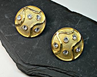 Gold Tone Pierced Earrings with Clear Rhinestones