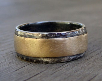 Two-Tone Wide Wedding Band - Recycled Oxidized Sterling Silver and 14k Yellow Gold, Layered, Affordable, and Eco-Friendly, Made to Order