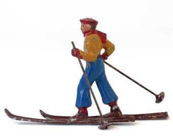 Antique Barclay Scale Vintage Lead Toy Winter Figure French Cross Country Skier