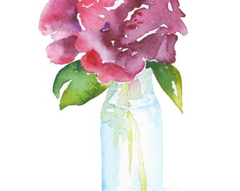 Rose in a Glass Vase Watercolor Painting - 5 x 7 - Giclee Reproduction - Floral - Fine Art