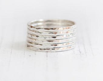 Dainty stacking set, Sterling silver stacking set, Skinny rings, Hammered rings, Minimalist Rings, UK Rings, UK Jewellery