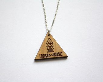Triangle pendant, Wood graphic collar, made in France Paris, Aztec necklace geometric modern minimalist natural wood graphic, woman jewel