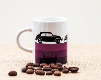 vintage cars espresso coffee mug VW Beetle Volkswagen retro vehicles gift for Dad Father Husband Boyfriend brother man boy purple automobile