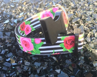 Dog Collar- Black and white strips with roses