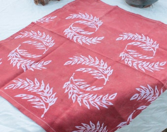 pastel rust batik cotton tea towel wheat pattern