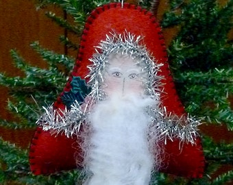Santa Bell Christmas Ornament, Handmade Santa Ornament, Wool Felt Ornament, Felt Santa Ornament, Victorian Santa, Vintage Inspired Christmas