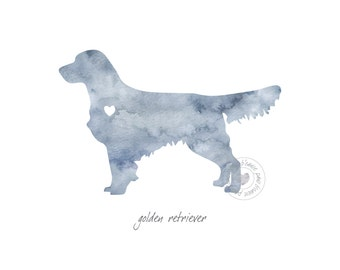 Golden Retriever Dog Watercolor Painting Digital Art Print Silhouette Custom Wall Decor, Home, Office, Nursery, Room Decor