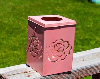 Lantern/ Candle Holder/ Flower/ Metal/ Box/ Home Decor/ Pink Flower candle holder/vase