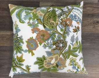 Vintage Crewel Embroidered Pillow with Green Cotton Sateen Back - Boho Modern Living Room Decor - Handmade Pillow Covers - Jungalow Style