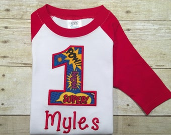 Superhero birthday shirt, zap pow bang fabric, any name and number, grey and red raglan