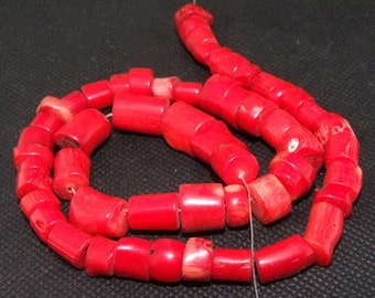 """red coral beads,Loose beads,full strand of red coral nugget beads,coral stone beads FULL STRAND 15""""gemstone"""