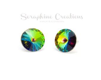 Vitrail Medium Crystal Earrings Swarovski Rivoli Green Rainbow Earrings Sparkly Bridal Bridesmaid Gift Bridal Party Bridesmaid Jewelry K010