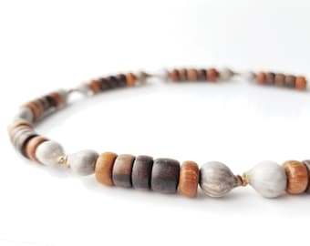 Men's jewelry - wooden necklace with home grown beads - Copper Jobs Tears