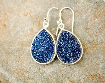 Blue Druzy Earrings Druzy Drop Earrings Silver Earrings Teardrop Earrings Sparkly Earrings Navy Blue Earrings Dangle Valentines Gift forHer