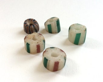 5 Vintage African Trading Beads, Striped, Assorted