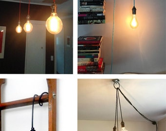 Pendant Light - Any Color - Pendant Lamp Hardwired or Plug In Light Vintage Antique Cord Pendant Lighting - Hangout Lighting