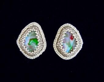 Teardrop Earrings, Bead Embroidered Earrings, Beaded Earrings, Post Earrings