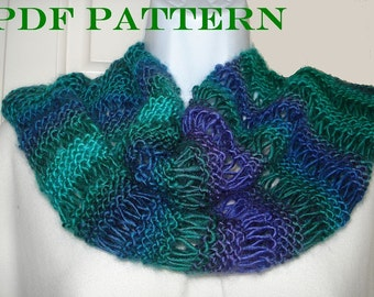 Knit Infinity Scarf = PDF Pattern for Scarf or Cowl of DK or Worsted Yarn with Variations