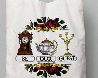 Be our Guest, Beauty and the Beast, Beauty and the Beast Canvas Tote, Disney Tote Bag,