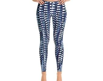 Blue Graphic  Leggings, Womens  Printed leggings,  Yoga leggings,  Printed Leggings, Workout Leggings, Fashion Leggings