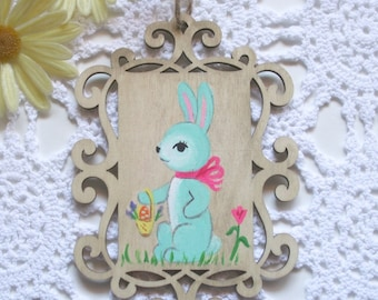 Easter Bunny in Blue Wooden Ornament