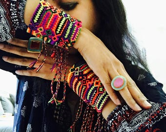 Bohemian Hippie Cuff Bracelet, Colorful Friendship Bands, Cuff with Trendy Friendship Fringes.