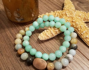 Amazonite and Teal Wrap