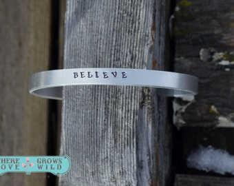 Personalized Cuff Bracelet-You Choose Wording - Handstamped Bracelet-Custom Cuff