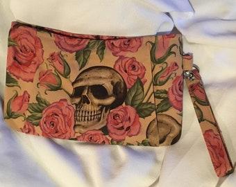 Charmed Resting in Roses Skull Wristlet Clutch