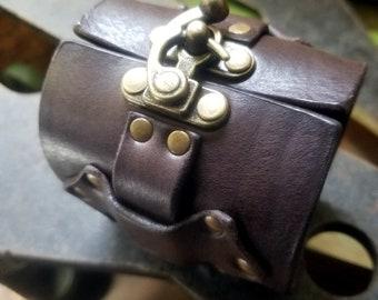 Hook Latch Leather Cuff Bracelet, Steampunk Bracelet, Men's Women's Motorcycle Biker Wide Wrist Cuff, Boho Hippie Tribal Leather Jewelry