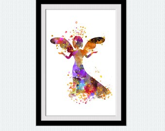 Angel watercolor poster Angel colorful print Cute angel illustration Home decoration Kids room wall art Nursery room decor Wall poster W362