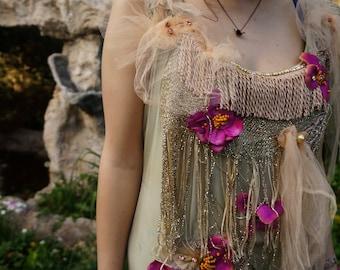 Bohemian romantic silk chiffon hand dyed dress Boho hand beaded dress Altered couture feminine shabby chic dress Green forest Fairy wedding