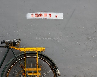 a yellow bicycle and grey wall in beijing // original travel photography //5x7 home wall decoration