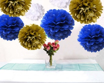 18PCS Mixed Royal Blue White Gold DIY Tissue Paper Flower Pompoms Wedding Shower Birthday Party Nursery Hanging Decoration