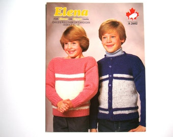 White Buffalo Childs Pullover or Cardigan Knitting Pattern A 2602 Elena Paper Pattern Size 2 to 14 Knit Design Unisex Children Boy Girl