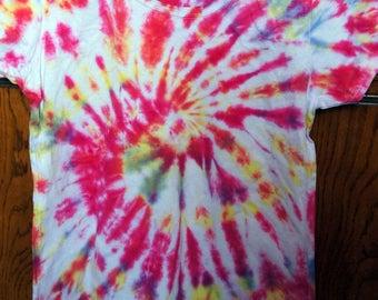 t-shirt sleeve short tie & dye spiral pink/orange