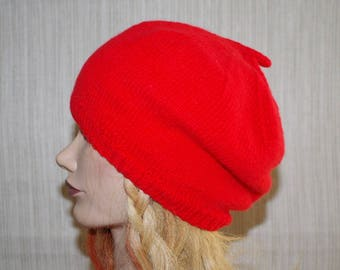 Cashmere Bright Red Hand Knit Beret Hat