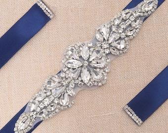 Lovely Crystal Beaded Rhinestone Bridal Sash / Wedding Sash/ Bridal Belt