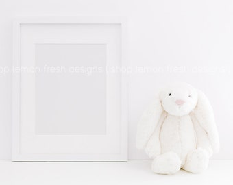 Styled Stock Photography - White Frame and Bunny Nursery Children's Image  Instant Download
