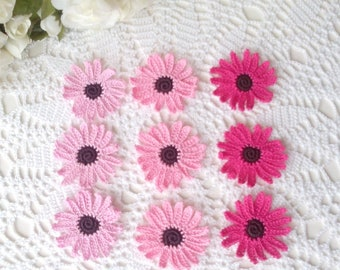 9 Lacy Gerbera Flowers in Pink Colors - 2  inch or 5 cm